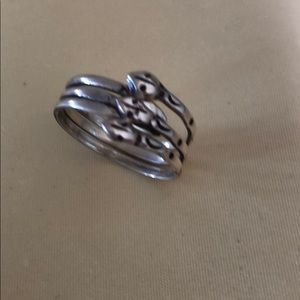 Sterling silver Mexico 3 snake head ring Sz 6 1/2